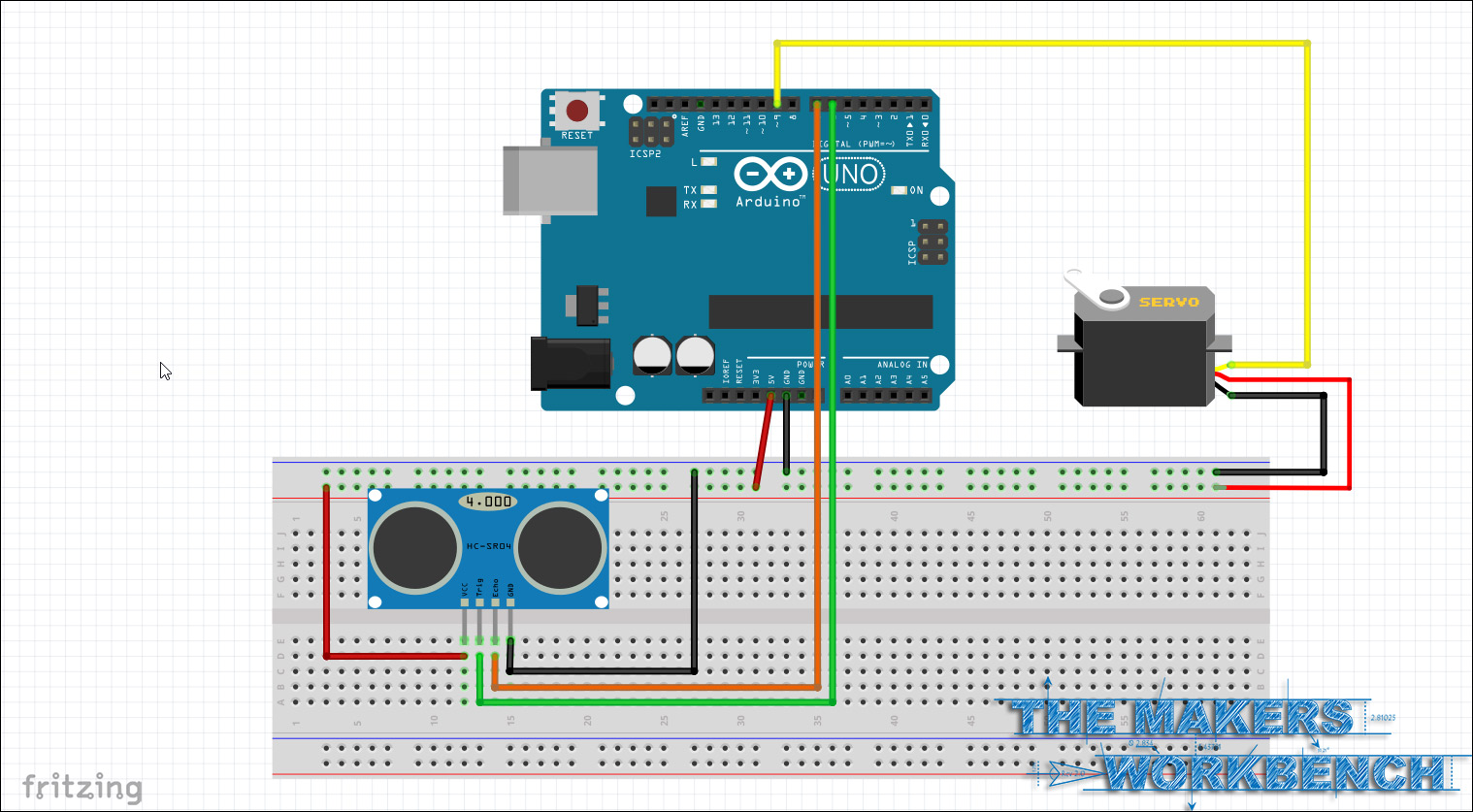 Triggering a servo using an HC-SR04 distance sensor and an Arduino