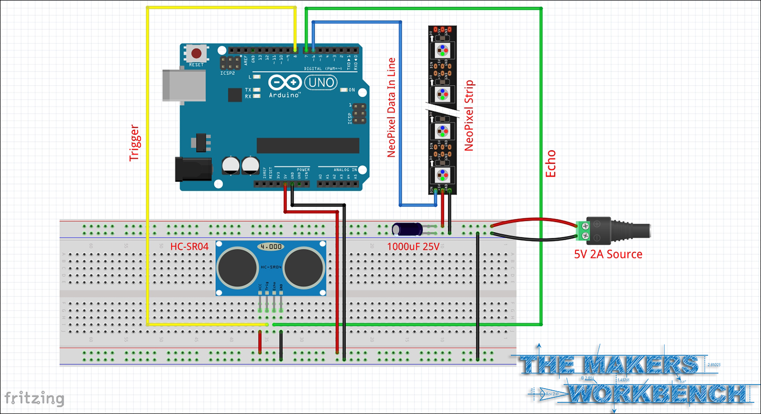 Arduino Parallax Lcd Wiring Diagram 43 Potentiometer To Led Schematic For Up An Hc Sr04 And Neopixels