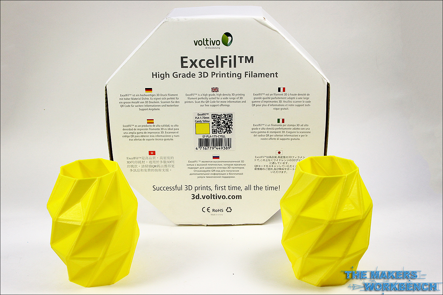 Voltivo Excelfil Candy Yellow 3mm ABS 3D Printing Filament