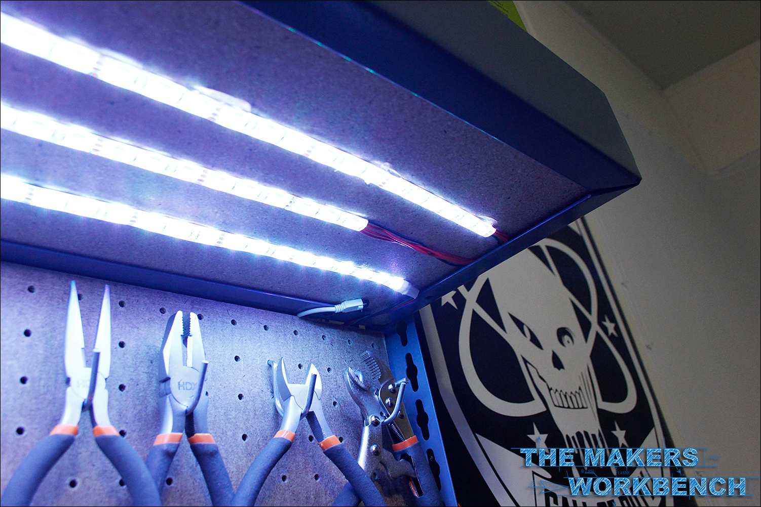 RGB LED Under-Shelf Bench Lighting | The Makers Workbench