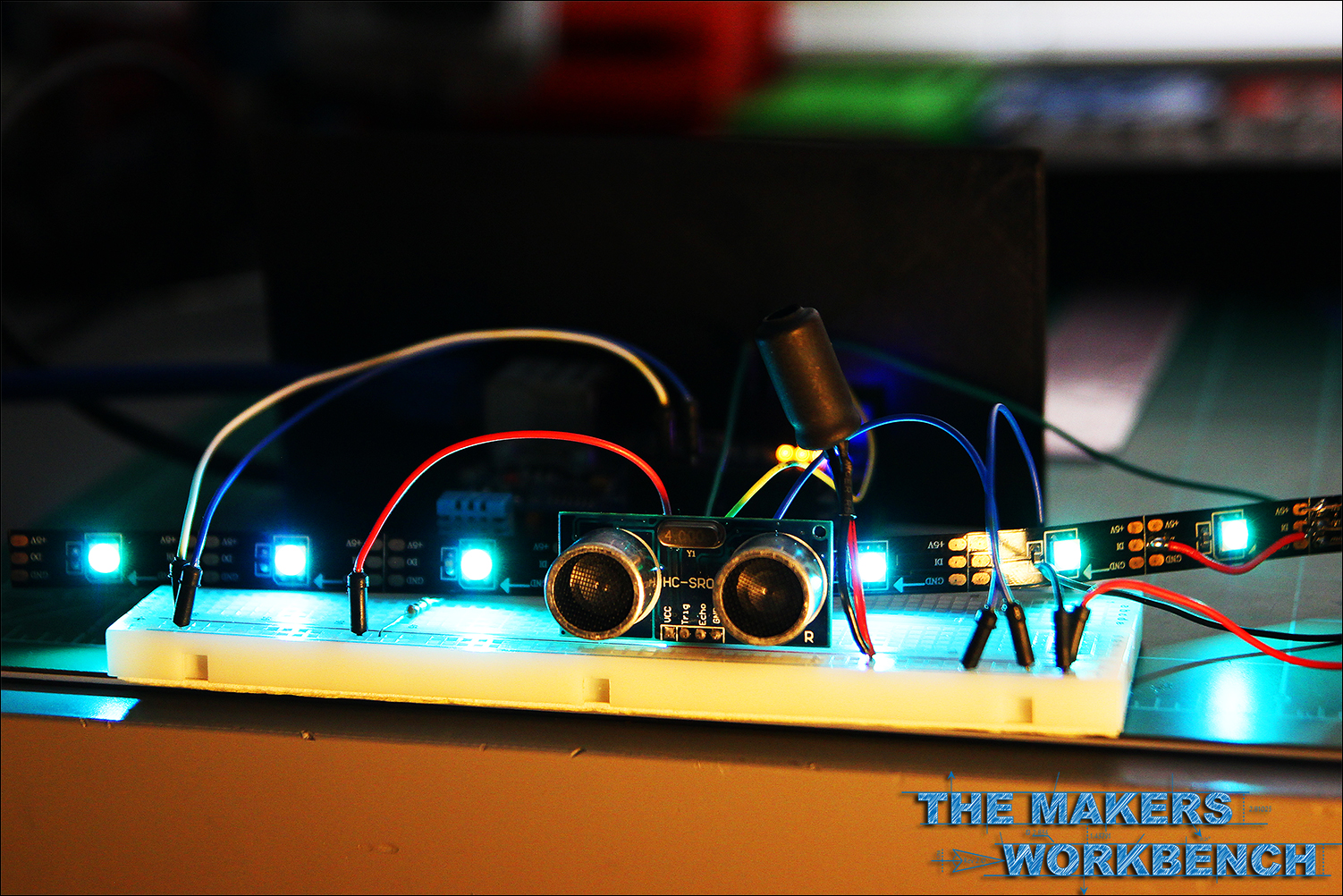 Using An Ultrasonic Distance Sensor To Illuminate Neopixels The Pulse Led Circuit Youtube Illuminating Neopixel Leds Arduino And A Hc Sr04 Ping